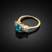 Gold Aquamarine Diamond Engagement Ring