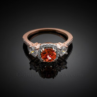 Rose Gold Garnet Diamond Engagement Ring