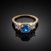Gold Topaz Diamond Engagement Ring