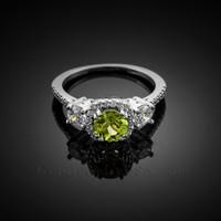 White Gold Peridot Diamond Halo Engagement Ring
