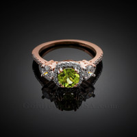 Rose Gold Peridot Diamond Engagement Ring