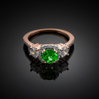 Rose Gold Emerald Diamond Engagement Ring
