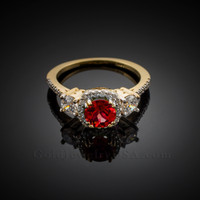 Gold Ruby Diamond Engagement Ring