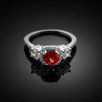 White Gold Ruby Halo Diamond Engagement Ring