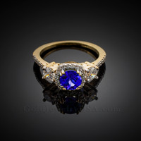 Gold Sapphire Diamond Engagement Ring