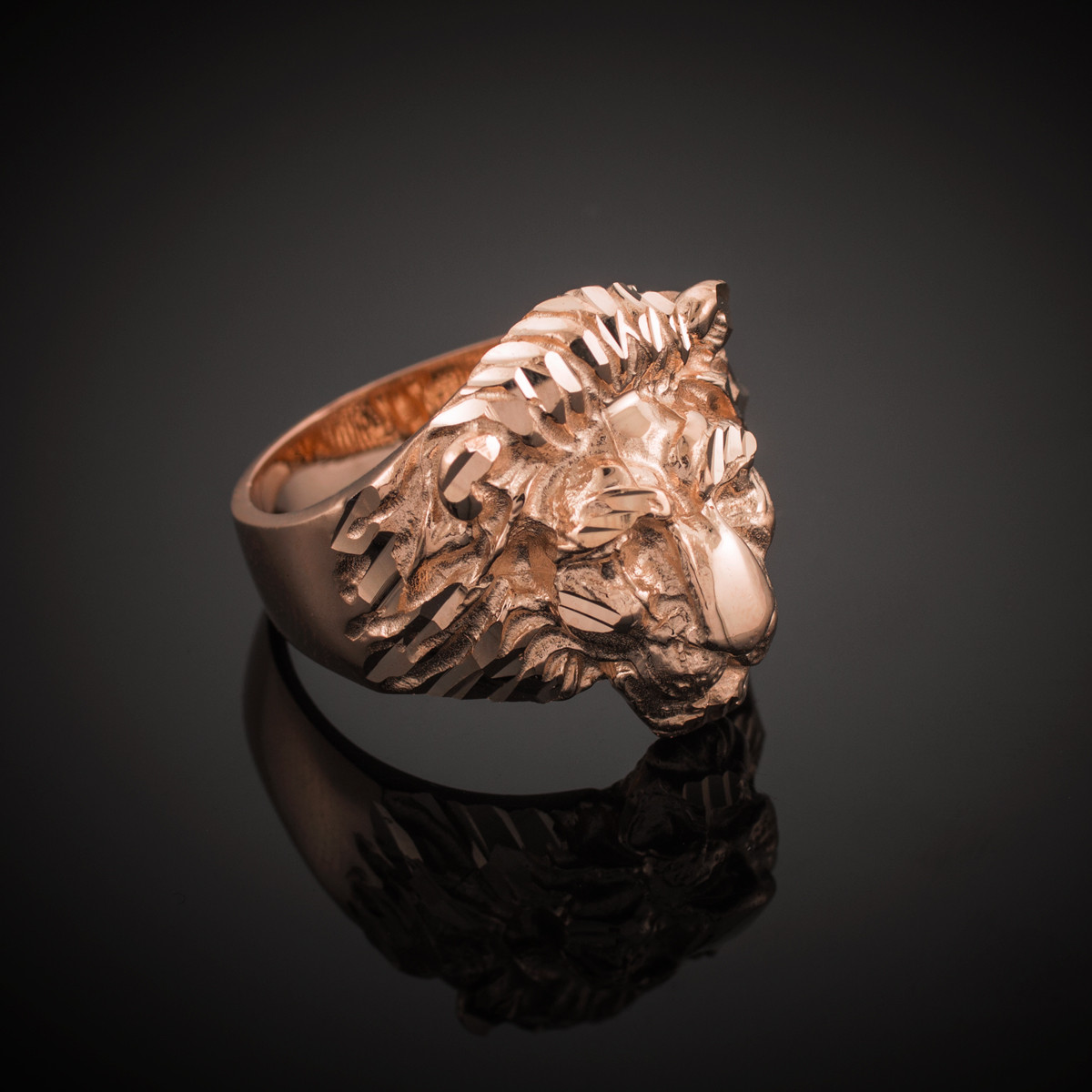 e53f77252 Men's Solid Rose Gold Lion Head Ring. Loading zoom