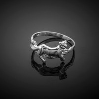 White Gold Lioness Ring