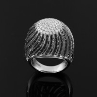 White Gold Black Diamond Pave Cocktail Dome Ring