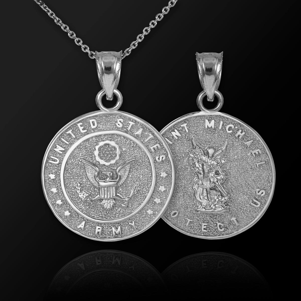 White gold us army reversible st michael pendant necklace aloadofball Choice Image