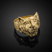 Unisex Gold Diamond Cut Tiger Ring