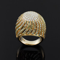 Gold Champaign Pave Diamond Cocktail Dome Ring