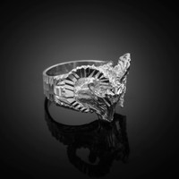 White Gold Mountain Ram Ring