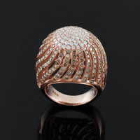 Rose Gold Champaign Pave Diamond Cocktail Dome Ring