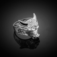 Large White Gold Bull Taurus Ring