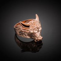 Solid Rose Gold Bull Taurus Ring