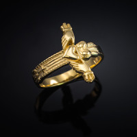 Gold Claddagh Cross Ring