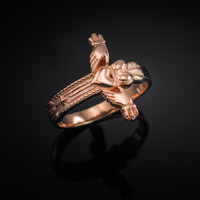 Solid Rose Gold Claddagh Cross Ring