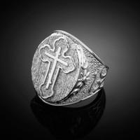 White Gold Russian Orthodox Cross Ring