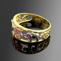 Tri-Tone Gold 15 Anos Quinceanera CZ Ring with Elephants