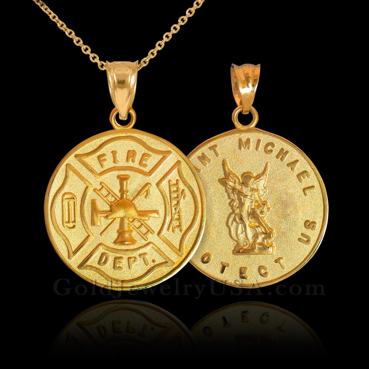 Gold firefighter badge reversible st michael pendant necklace aloadofball Gallery