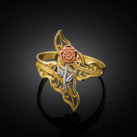 Multi-Tone Gold Rose Filigree Ring