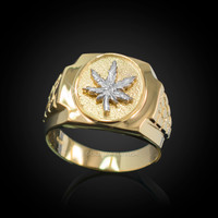 Mens Gold Marijuana Leaf Cannabis Ring
