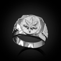 Mens White Gold Marijuana Leaf Cannabis Ring