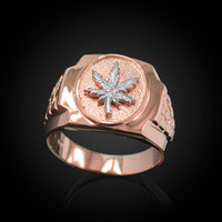 Mens Rose Gold Marijuana Leaf Cannabis Nugget Ring