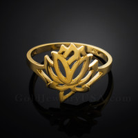 Dainty Gold Lotus Ring