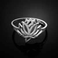 Dainty White Gold Lotus Ring
