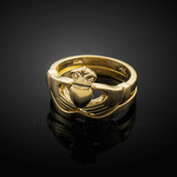 2pc Gold Classic Claddagh Engagement Ring Band