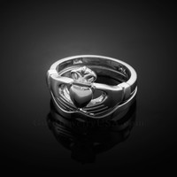 2pc White Gold Classic Claddagh Engagement Ring Band