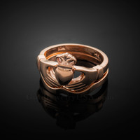 2pc Rose Gold Classic Claddagh Engagement Ring Band