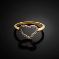 Gold Diamond Heart Ring