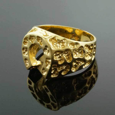 Gold Horseshoe Nugget Ring