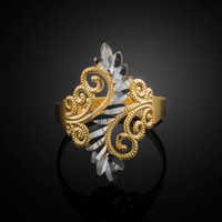 Two-Tone Gold Filigree Diamond Cut Ring
