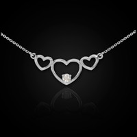 14K White Gold Triple Heart with CZ