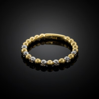 Two-Tone Gold Ball Chain Stackable Ring with Diamonds