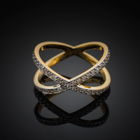 Gold Diamond Orbit Ring