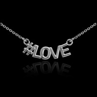 14k White Gold #LOVE Necklace