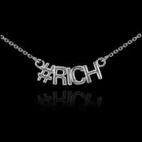14k White Gold #RICH Necklace