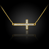 Sideways cross necklace with diamonds