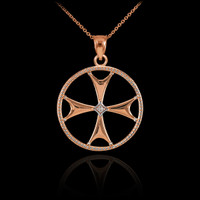 Rose Gold Diamond Maltese Cross Pendant Necklace