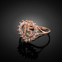 Rose Gold Quinceanera 15 Anos Ring