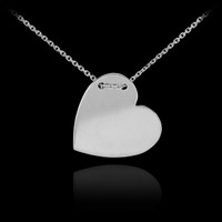 14k Solid White Gold Heart Necklace