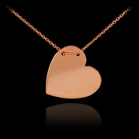 14k Solid Rose Gold Heart Necklace