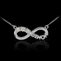 14k White Gold Infinity #1MOM Necklace with Triple CZ Stones
