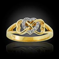 Gold Infinity Heart Diamond Ring