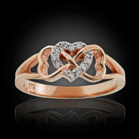 Rose gold infinity heart diamond ring