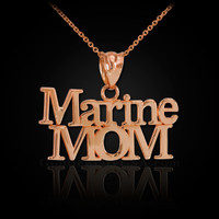Rose Gold Marine Mom Pendant Necklace